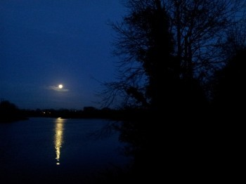 Moonlight over the River Shannon, Ireland.