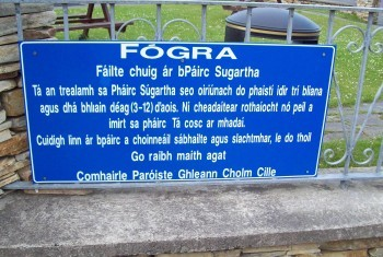 Fógra/Announcement in Irish
