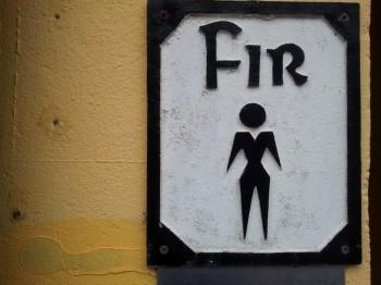Men's' room sign in Irish.
