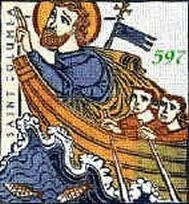 Saint Columba leaving Ireland.