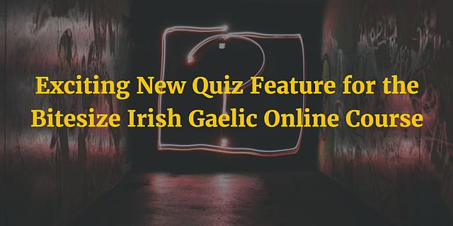Exciting New Quiz Feature for the Bitesize Irish Gaelic Online Course