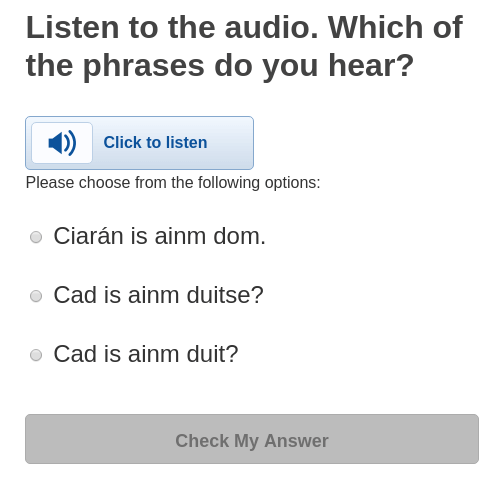 Irish language audio comprehension